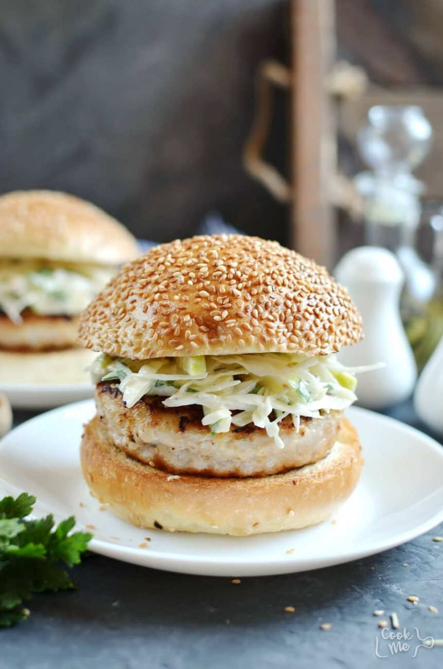 Apple Chicken Burgers and Slaw
