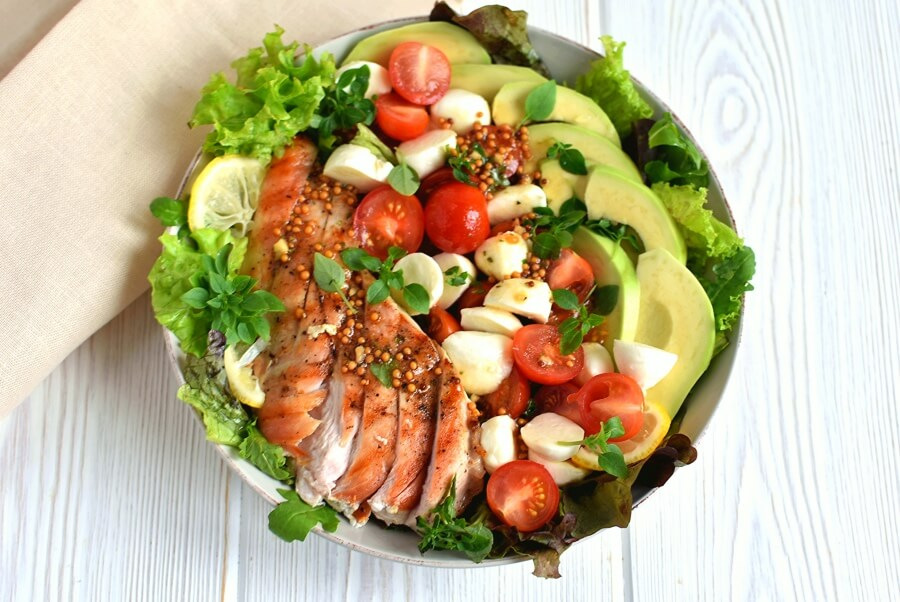 How to serve Avocado Caprese Chicken Salad with Balsamic Vinaigrette