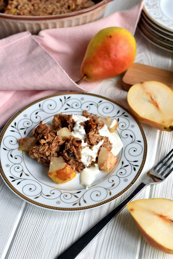 Baked Oatmeal with Pears Recipe-How to make Baked Oatmeal with Pears-Easy Baked Oatmeal with Pears