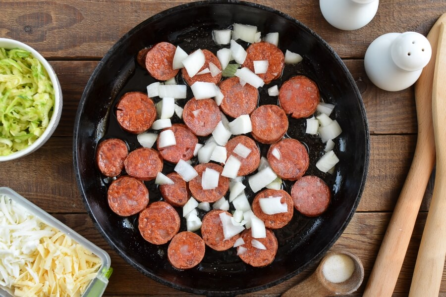 Gluten Free Cheesy Sausage Zucchini Rice Skillet recipe - step 2