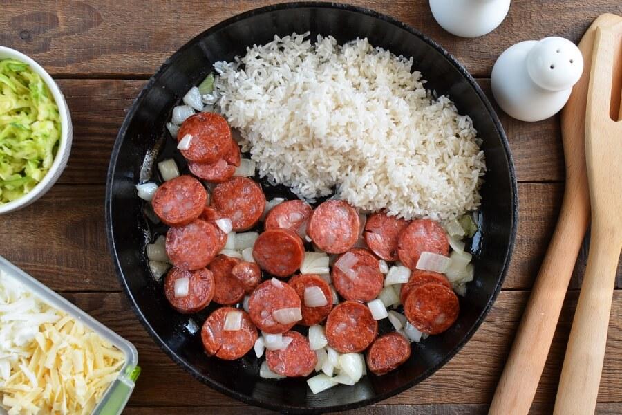 Gluten Free Cheesy Sausage Zucchini Rice Skillet recipe - step 3