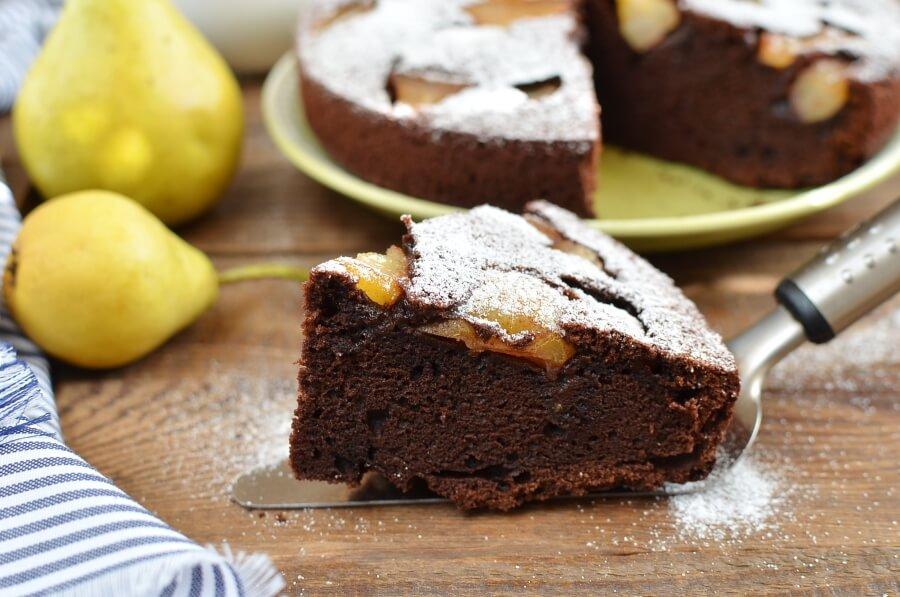 Chocolate Pear Cake Recipe-How To Make Chocolate Pear Cake-Homemade Chocolate Pear Cake