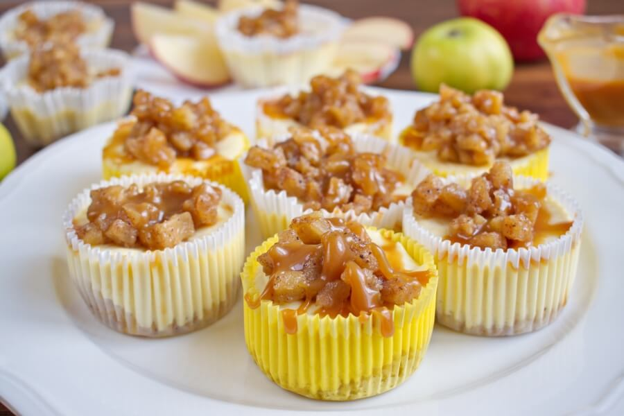 How to serve Easy Mini Caramel Apple Cheesecakes