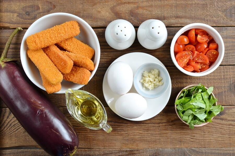 Ingridiens for Eggplant & Mozzarella Stick Roll-Ups