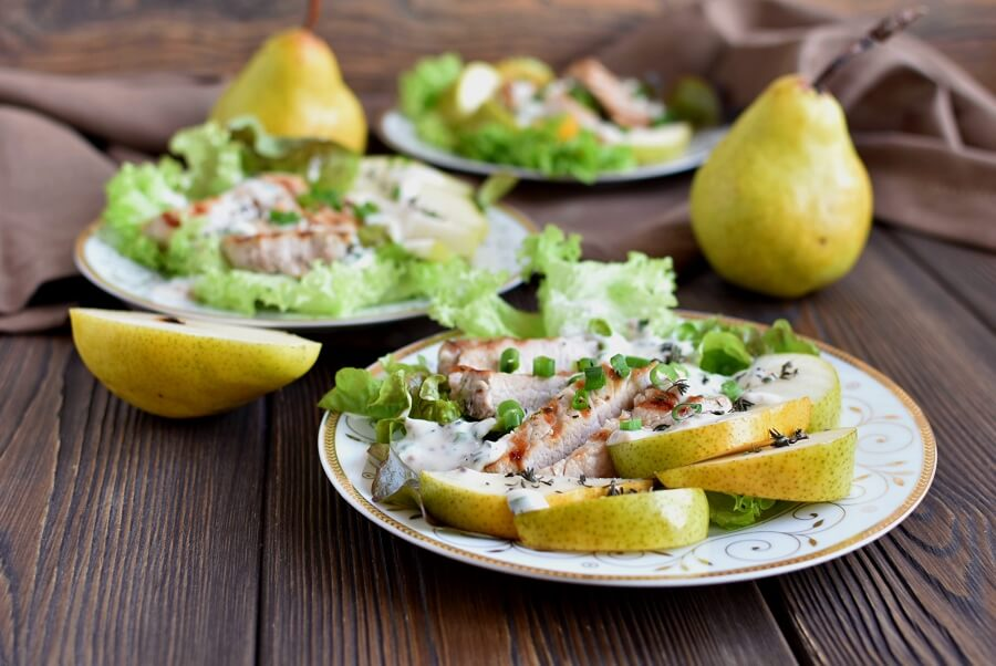 Grilled Pork and Pear Salad Recipe-How To Make Grilled Pork and Pear Salad-Delicious Grilled Pork and Pear Salad