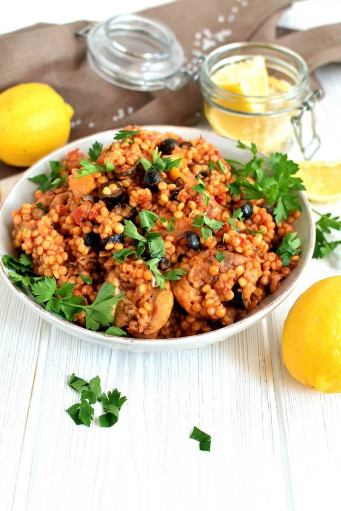Lemony Chicken Stew with Giant Couscous
