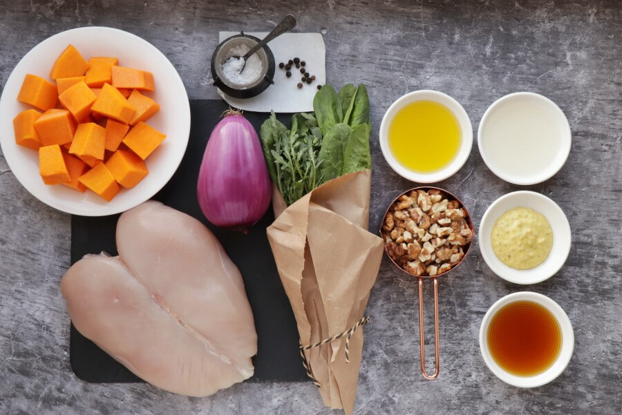 Ingridiens for Maple-Roasted Pumpkin and Chicken Salad