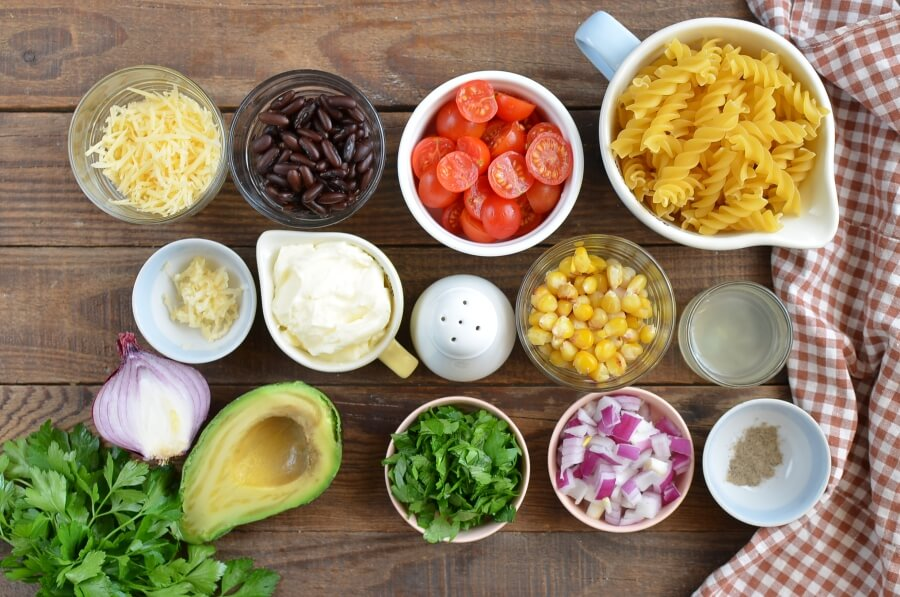Ingridiens for Mexican Pasta Salad with Creamy Avocado Dressing