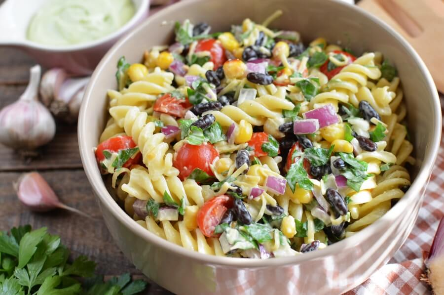 How to serve Mexican Pasta Salad with Creamy Avocado Dressing