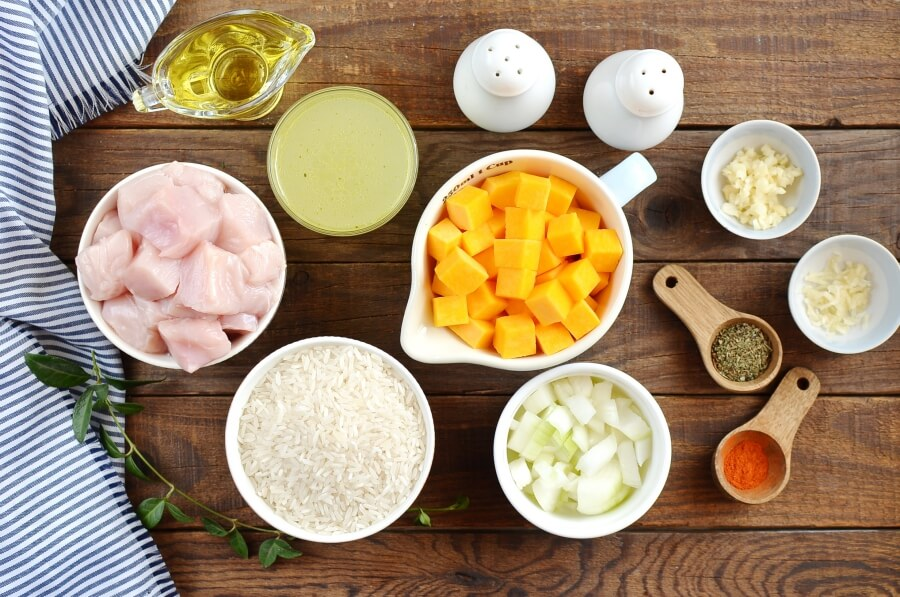 Ingridiens for One Pot Chicken and Pumpkin Rice