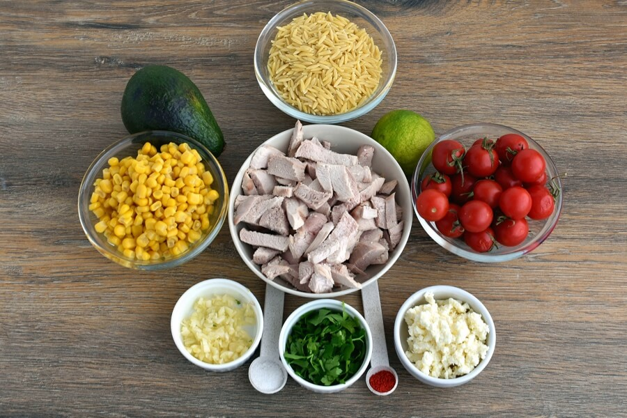 Ingridiens for Orzo Chicken Salad with Avocado-Lime Dressing