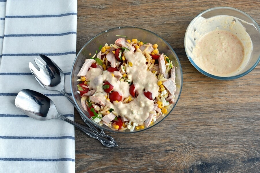 How to serve Orzo Chicken Salad with Avocado-Lime Dressing