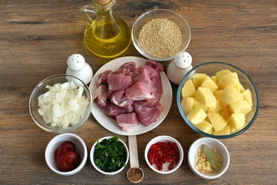 Ingridiens for Pork and Quinoa Stew