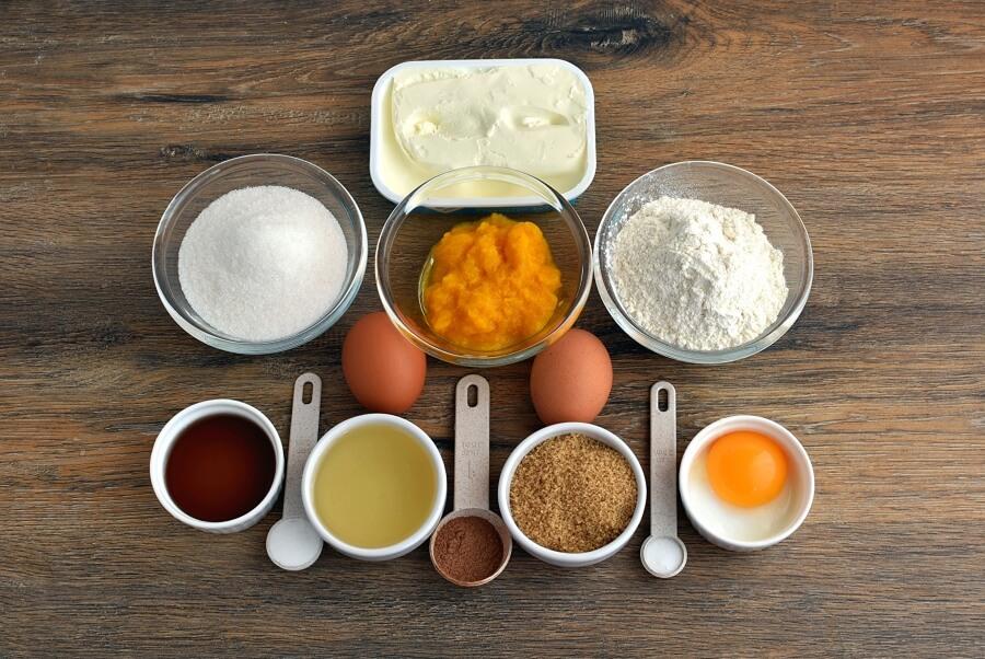 Ingridiens for Pumpkin Cream Cheese Swirl Muffins