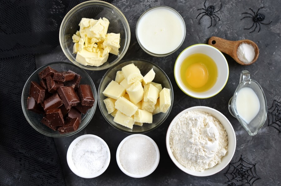 Ingridiens for Spider Web Chocolate Fudge Muffins