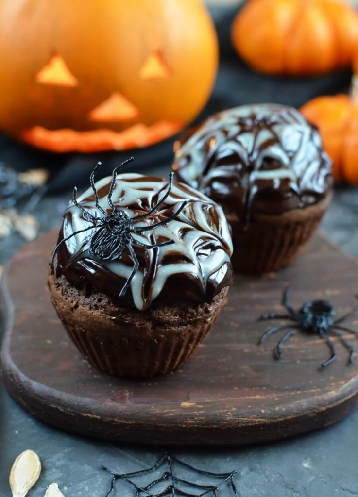 Spider Web Chocolate Fudge Muffins Recipe-How To Make Spider Web Chocolate Fudge Muffins-Delicious Spider Web Chocolate Fudge Muffins