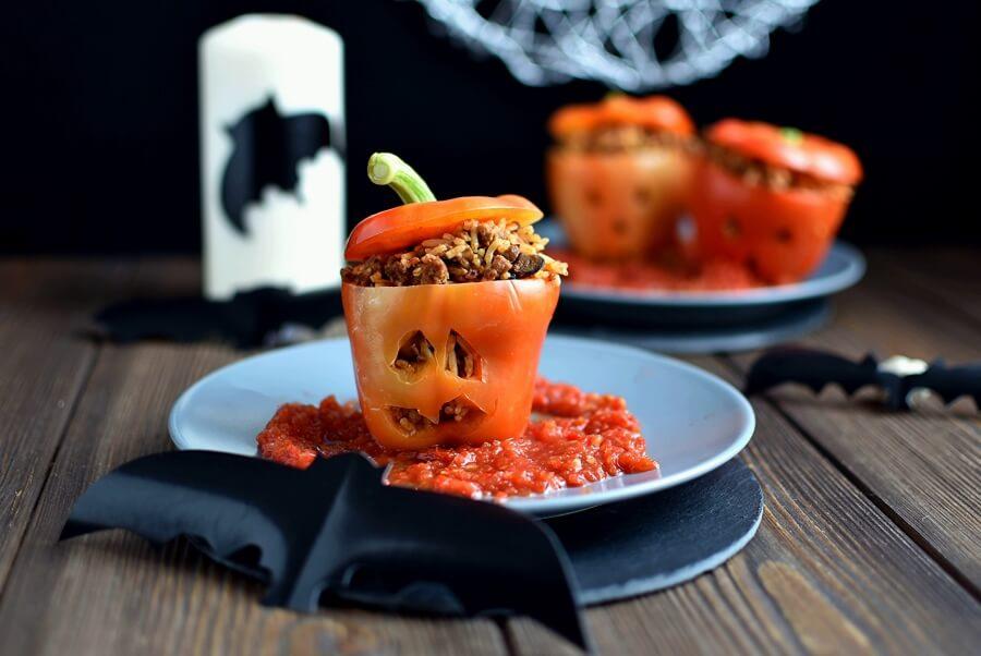 How to serve Stuffed Halloween Jack O' Lantern Peppers