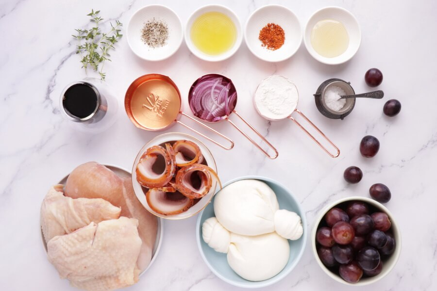 Ingridiens for Thyme Roasted Chicken with Grapes and Burrata