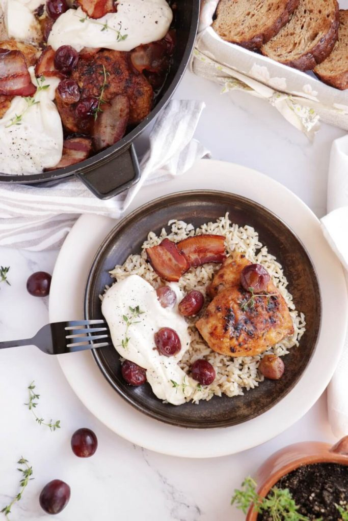 Herbs, Fruit and Burrata Roasted Chicken