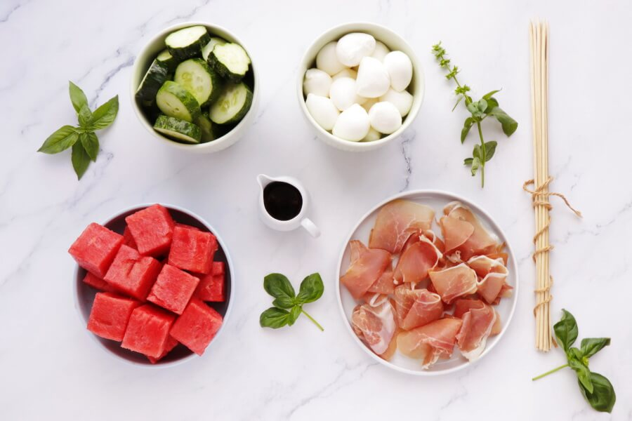 Ingridiens for Watermelon, Mozzarella and Prosciutto Skewers
