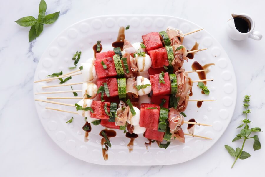 Watermelon, Mozzarella and Prosciutto Skewers recipe - step 2
