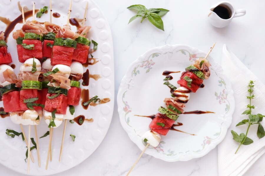 How to serve Watermelon, Mozzarella and Prosciutto Skewers