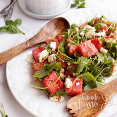 Watermelon Salad with Arugula, Feta and Fresh Herbs Recipe-Watermelon Salad Recipe with Arugula Feta and Mint Herbs-Delicious Watermelon Salad