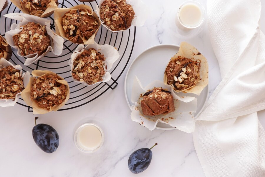 How to serve Whole Grain Vegan Plum Muffins