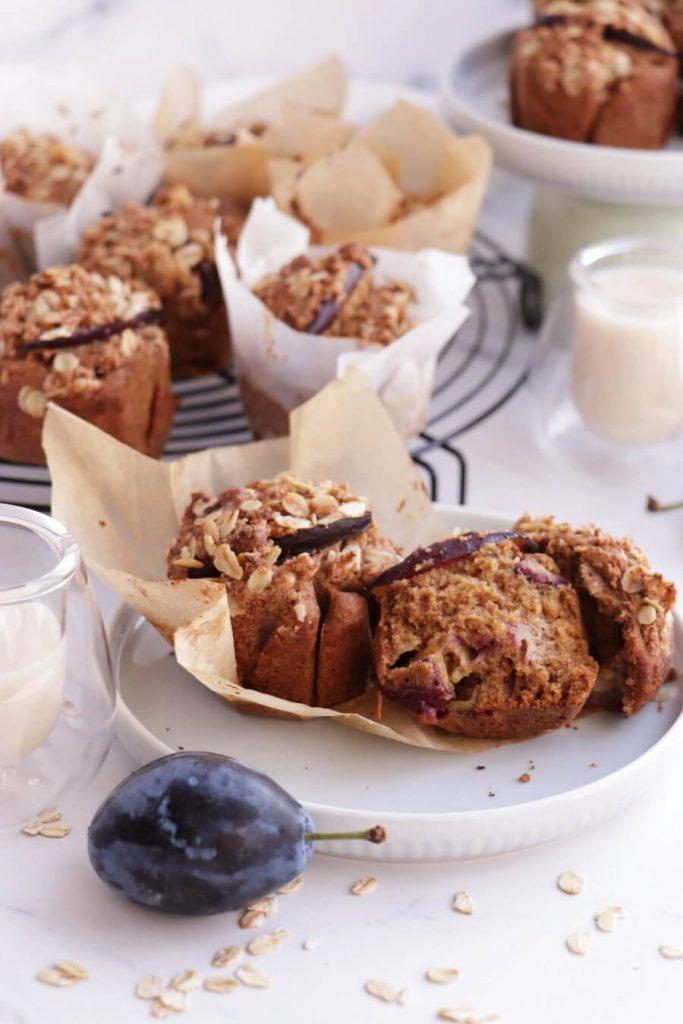 Whole Grain Vegan Plum Muffins