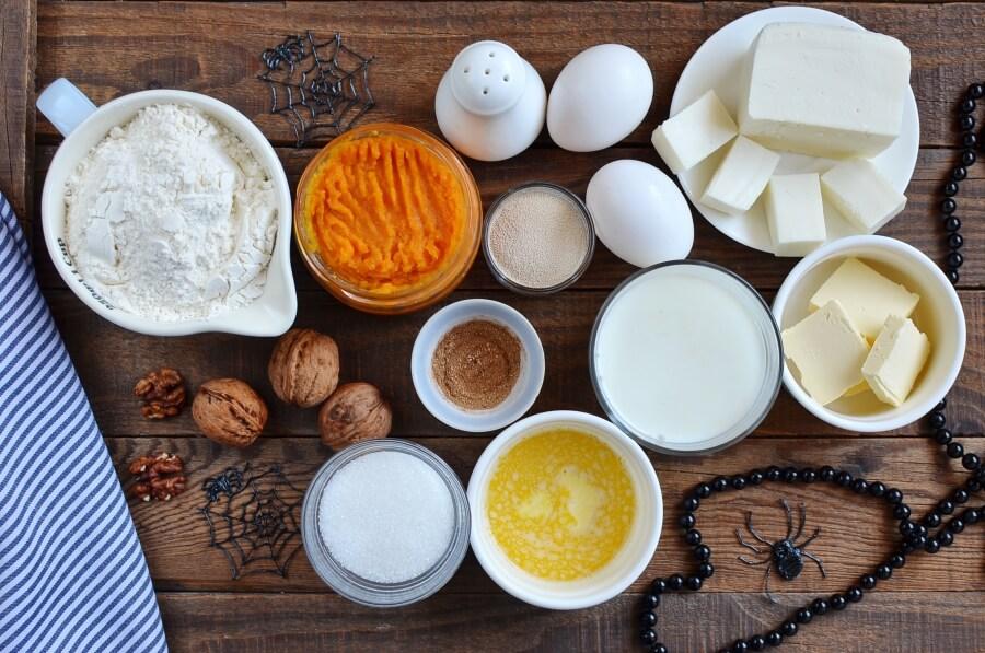 Ingridiens for Cream Cheese Stuffed Pumpkin Dinner Rolls