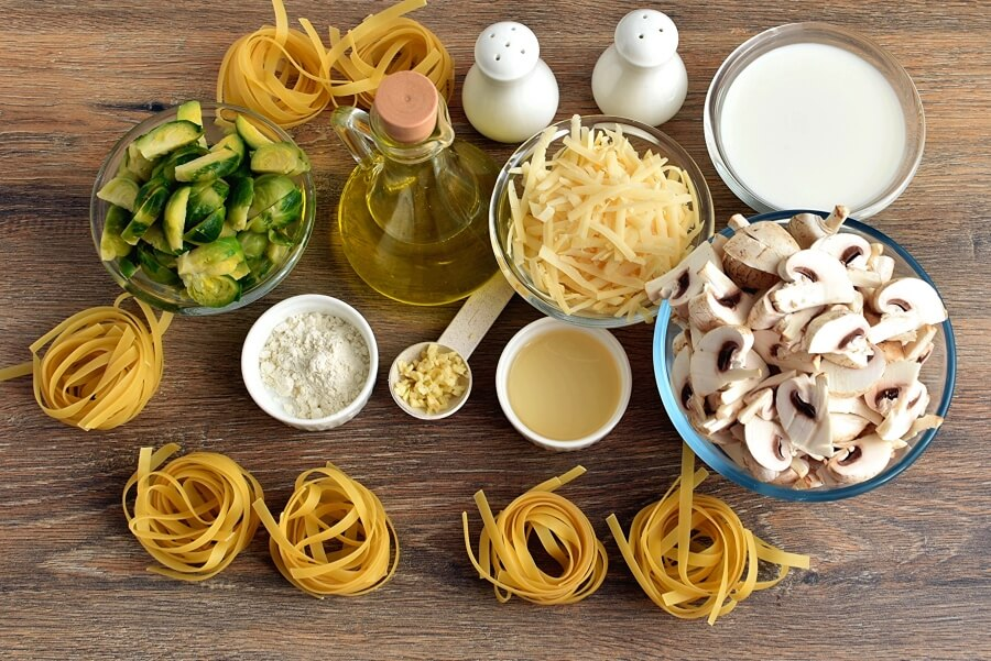 Ingridiens for Creamy Fettuccine with Brussels Sprouts and Mushrooms