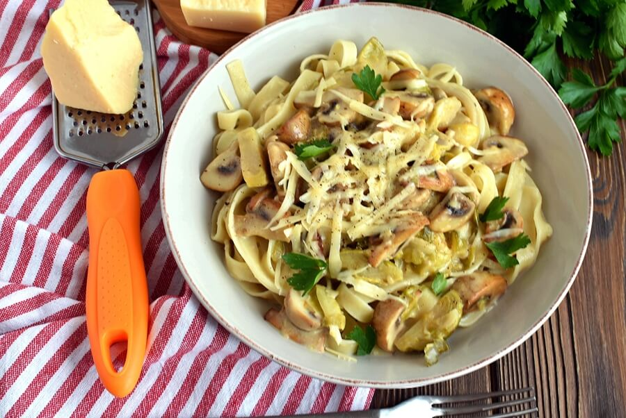 How to serve Creamy Fettuccine with Brussels Sprouts and Mushrooms