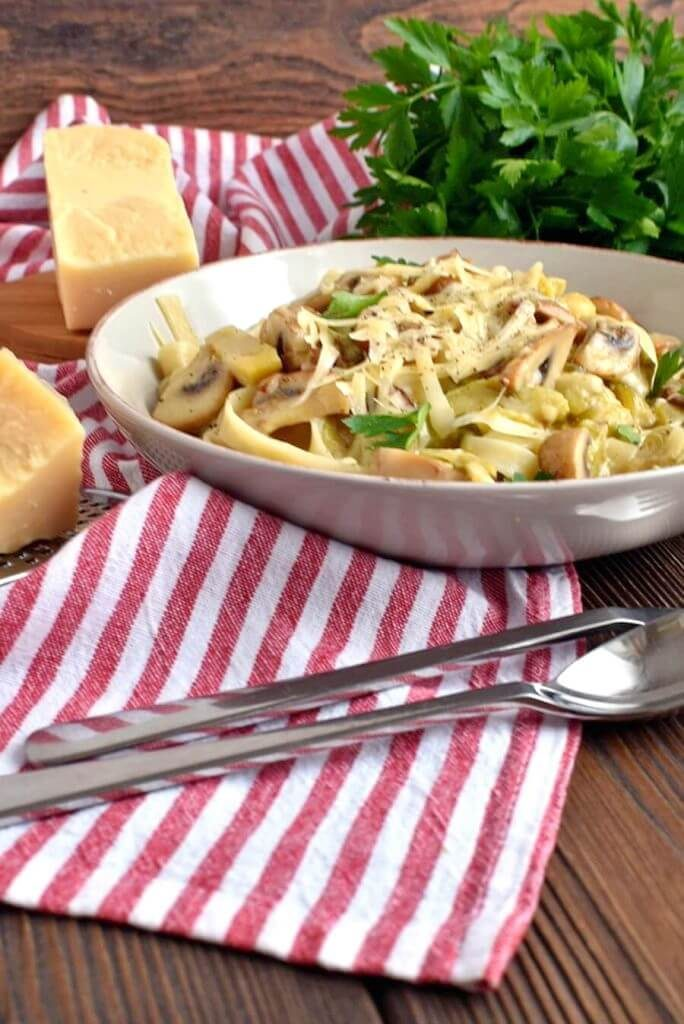 Pasta with a Creamy Sprout and Mushroom Sauce
