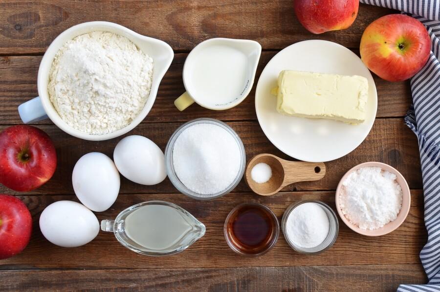 Ingridiens for German Apple Cake (Versunkener Apfelkuchen)