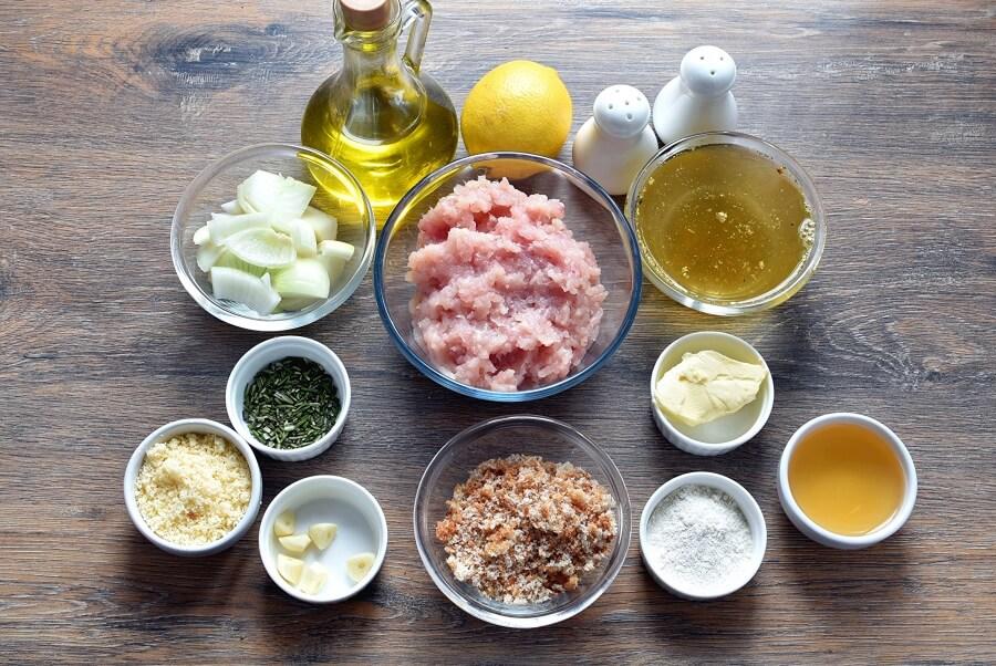 Ingridiens for Lemon-Rosemary Turkey Meatballs