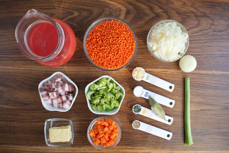 Ingridiens for Lentil Soup with Salt Pork