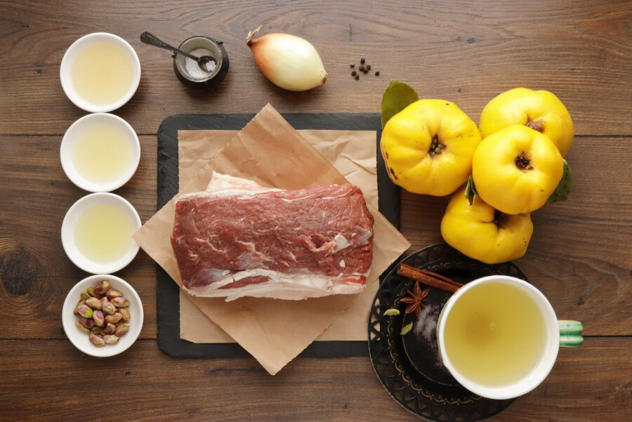 Ingridiens for Mediterranean Lamb with Spiced Quince