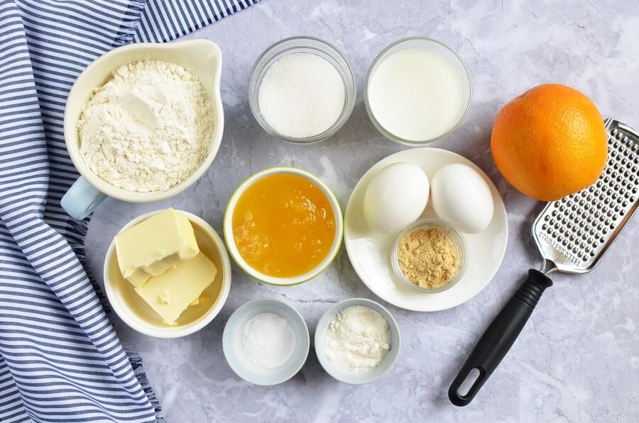 Ingridiens for Orange Ginger Honey Cakes