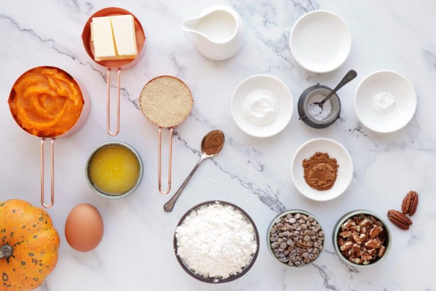 Ingridiens for Pumpkin Pecan Scones with Brown Sugar Streusel