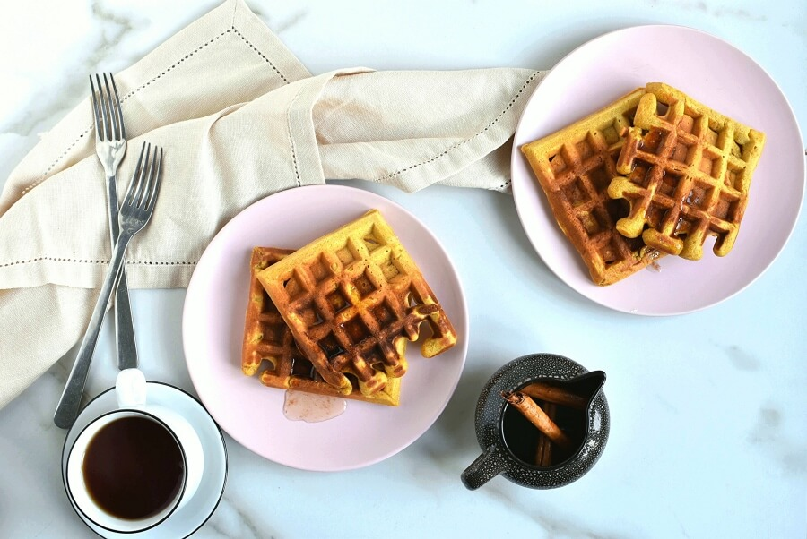 How to serve Pumpkin Waffles with Cinnamon Maple Syrup