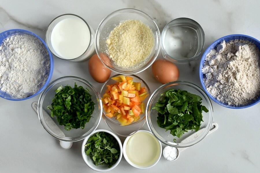 Ingridiens for Savory Veggie Waffles