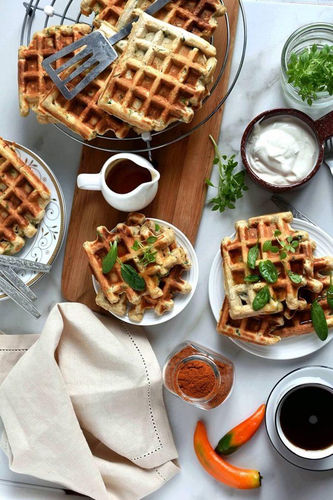 Delicious veggie waffles