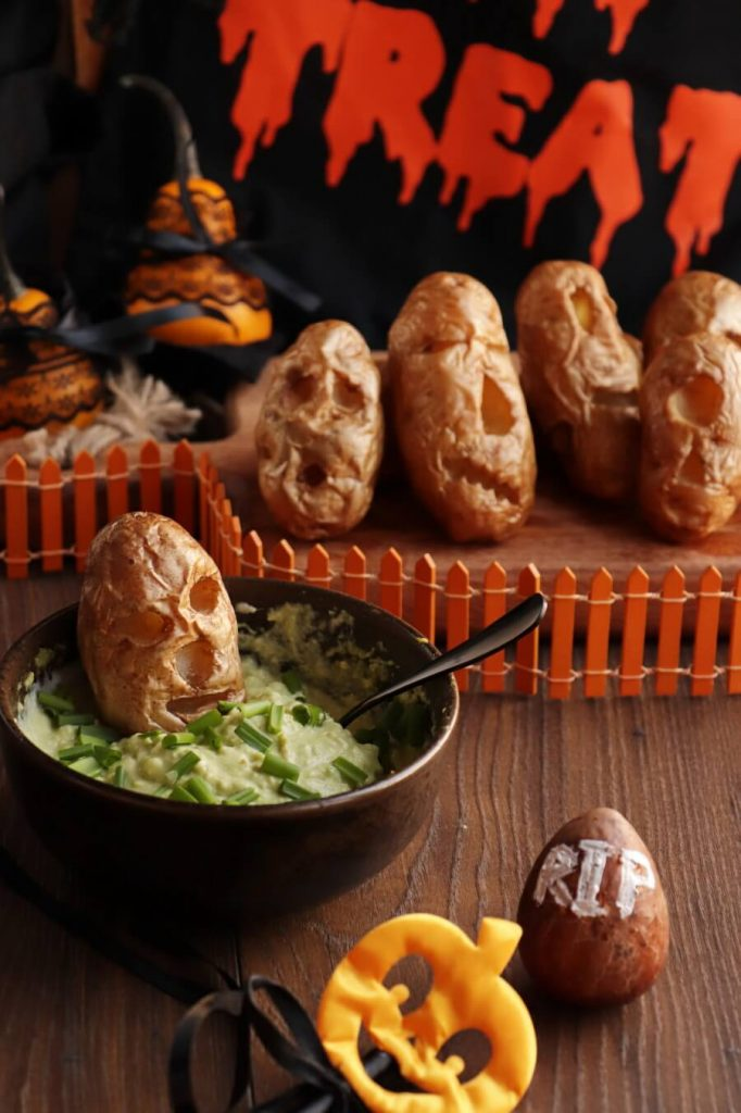 Ghostly Baked Potatoes with Avo Dip