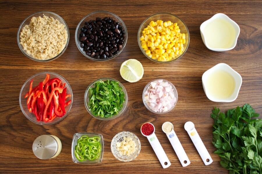 Ingridiens for Southwest Quinoa Salad