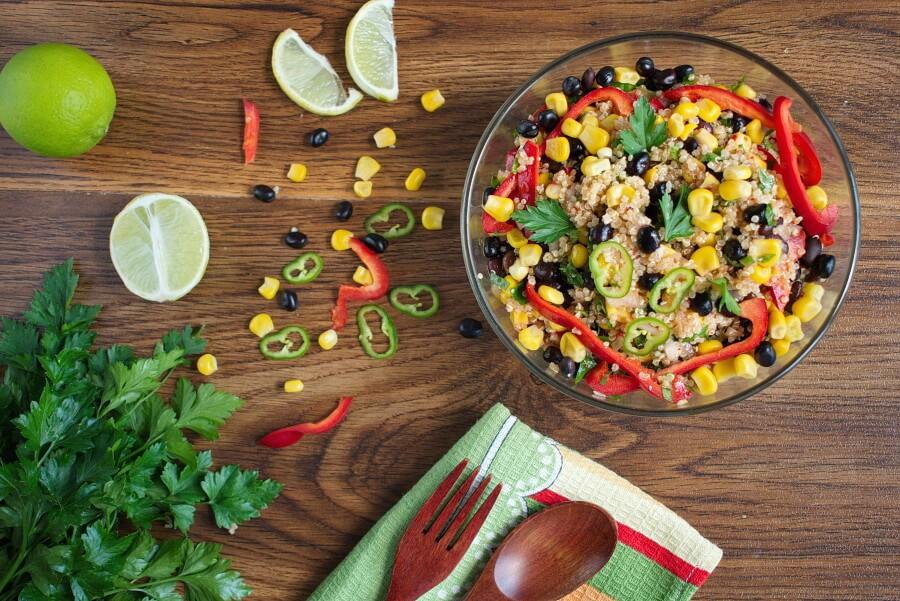 Southwest Quinoa Salad Recipe-Mexican Quinoa Salad with Black Beans-Southwest Quinoa Salad Lime Dressing