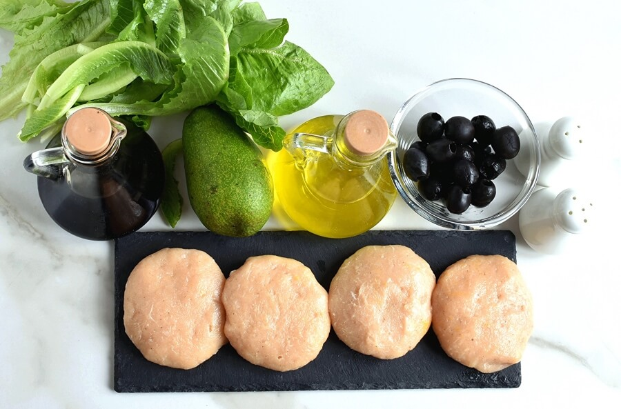 Ingridiens for Low Carb Turkey Burger Salad with Avocado