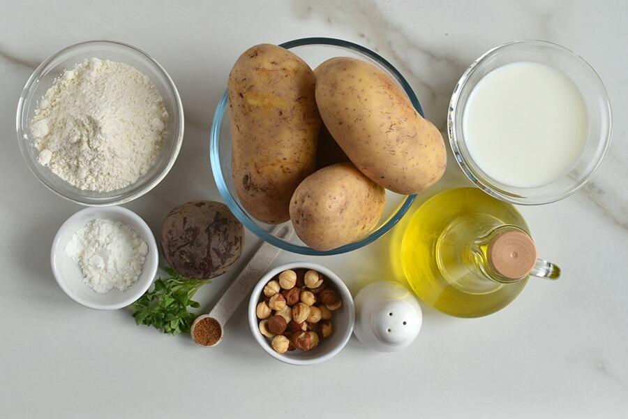 Ingridiens for Vegan Gluten Free Beetroot Gnocchi