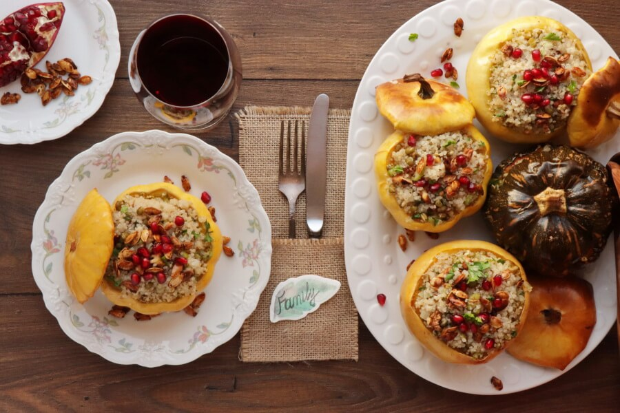 How to serve Vegan Quinoa Stuffed Squash with Walnuts and Pomegranate