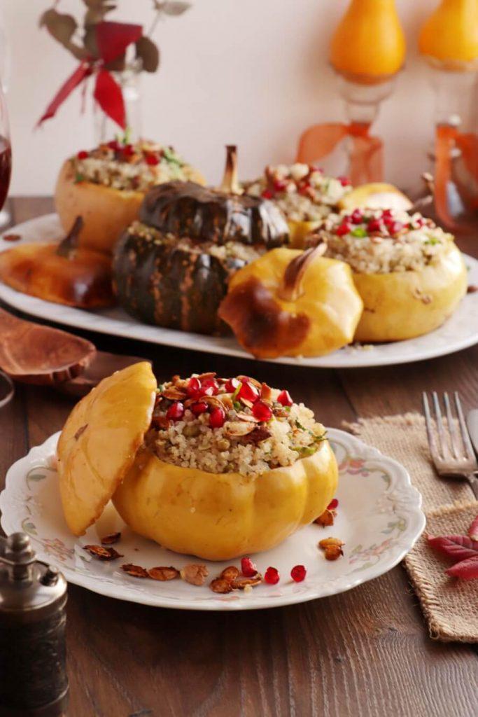Vegan Quinoa Stuffed Squash with Walnuts and Pomegranate