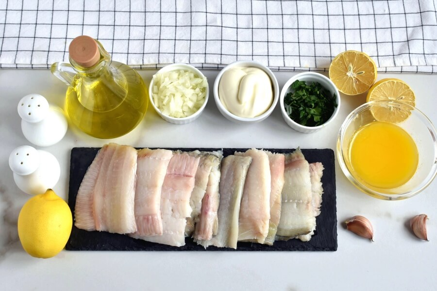 Ingridiens for Baked Flounder with Lemon and Butter